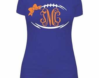 Football Bow Monogram Frame SVG  and DXF Cut Files - Instant Download