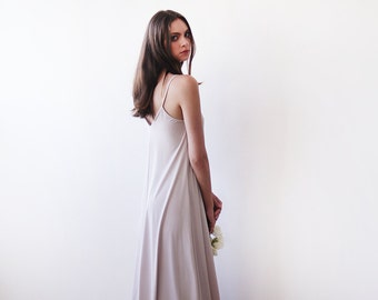 Light champagne maxi straps dress , Maxi champagne basic lining dress 1026