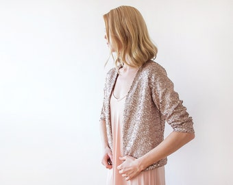 Sequin pink bridal jacket, Long sleeves sparkling bridal jacket