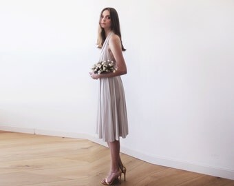 Champagne Backless midi dress, Halter-neck midi dress, Bridesmaids knee length champagne dress