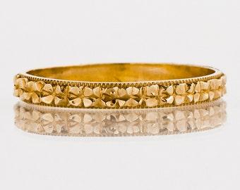 Antique Wedding Band - Antique 14k Rose Gold Etched Flower Eternity Band