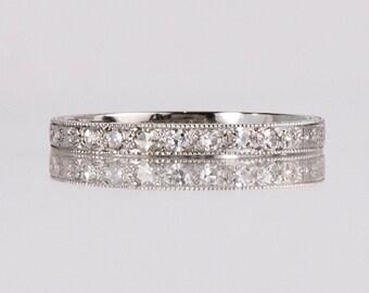 Antique Wedding Band - Antique 18K White Gold Etched Diamond Wedding Band