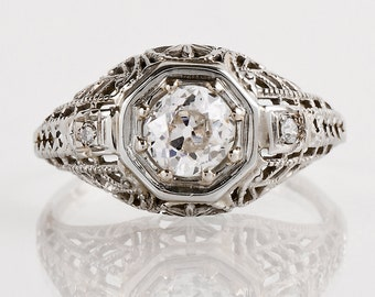 Antique Engagement Ring - Edwardian Engagement Ring - Antique Edwardian 18k White Gold European Cut Diamond Engagement Ring