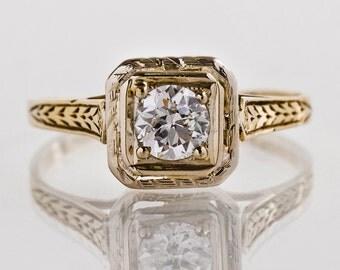 Antique Engagement Ring - Antique 1920s 14k Two-Tone Diamond Engagement Ring