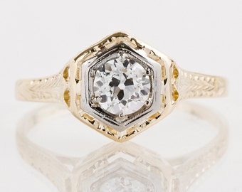 Antique Engagement Ring - Antique Art Deco 14k Yellow Gold Diamond Engagement Ring