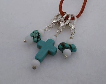 Set of 3 - Turquoise Cross and Nuggets with Catseye - Stitch Markers for Knit or Crochet - Lobster Clasp