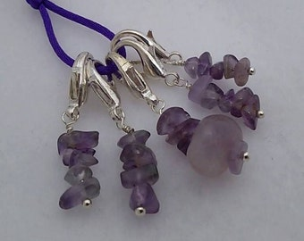 Set of 5 - Amethyst Nugget Stitch Markers for Knit or Crochet - Lobster Clasp