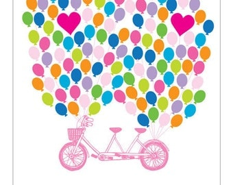 Personalised Wedding c Bicycle Fingerprint Guest book - Guestbook Poster - Canvas or Paper - Free Gift with Purchase