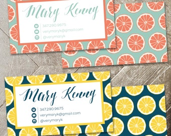 Citrus Name Business Card / Calling Card / Mommy Card / Contact Card - Hair Stylist Business Card, Salon, Event Planner Business Cards