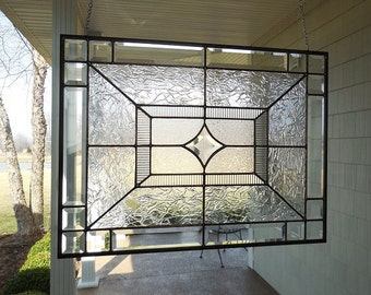 "Beveled Star Stained Glass Window Panel 24.5"" x 18.5"""