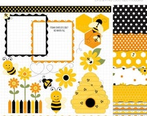 ON SALE - Clipart Combo - Bumble Bee Clip Art / Digital Clipart - Instant Download