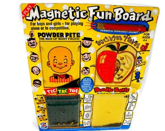 Vintage Magnetic Game - Travel Game, Magnetic Game, Powder Pete, 4 Games in 1, Tic Tac Toe, Maze