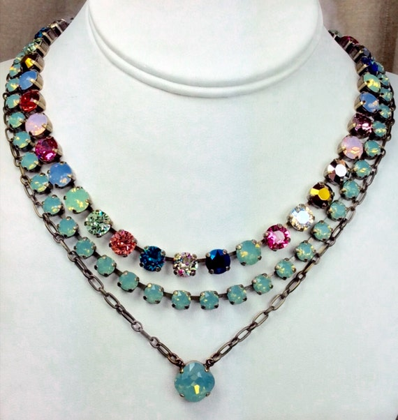 """Swarovski Crystal Necklaces - Dainty 6mm Pacific Opals, Multi-Colored 8.5mm """"Crazy Quilt"""" and a 12MM One Stone Pendant -  FREE SHIPPING"""