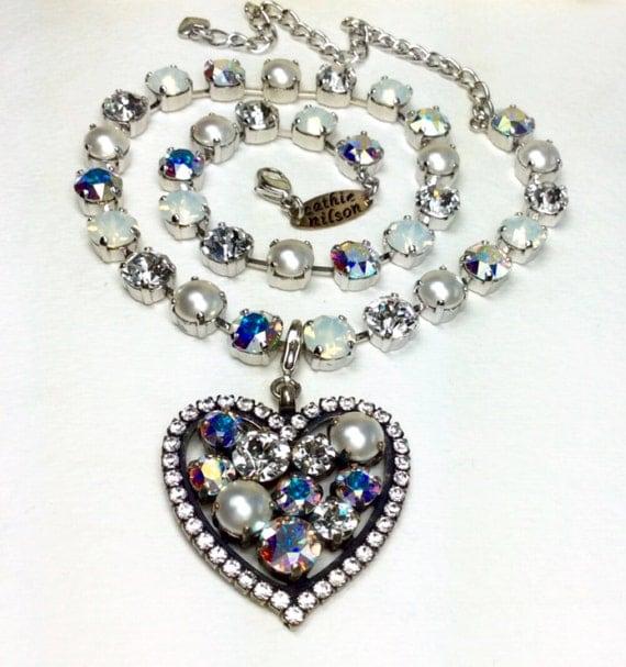 Swarovski Crystal -  Valentine Heart -  Beautiful Bridal Whites - White Opal, Radiant Crystal, Pearls & Aurora Borealis -  FREE SHIPPING