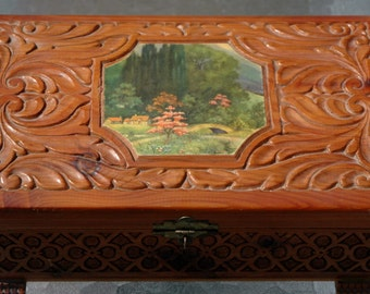 Vintage Wood Carved Cedar Box Jewelry Box With Mirror Decoupage Country Scene...1950's...