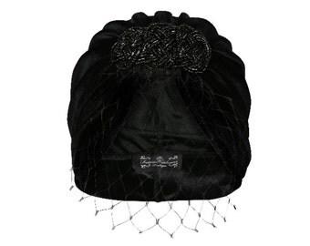 Isobel Veiled Velvet Turban