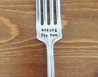 "Vintage ""eating for two"" metal hand stamped fork"