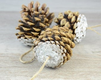 Christmas Tree Ornaments Snow Pine Cone Xmas Decoration Rustic Woodland Eco Woodland Wedding Winter Decor  Pine Cone, set of 3, scandinavian