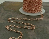 Solid raw Copper 9x5mm Oval Cable Chain - By the foot