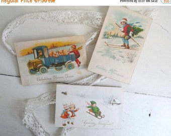 Sale 50 % Off Antique NEW YEARS POSTCARDS, Set of 3 Dutch postcards. Playing Children and Little Pigs inWinter Scenes.