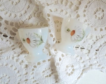 2 Vintage French Floral MILKGLASS EGG CUPS, Arcopal, Opaline Milk Glass with Daisy Pattern.
