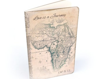 Custom Travel Journal for Couples, Africa, Custom Quote, Anniversary Gift, Valentines Day Gift, Map Notebook, Travel Log