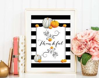 Thankful Art Print, Fall Home Decor, Striped Poster, Thanksgiving Decor, Calligraphy, Typography, Pumpkins Art Print, Fall Wall Art, SKU-045