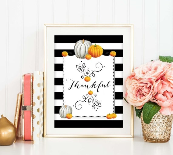 Items similar to thankful art print fall home decor for Thanksgiving 2016 home decorations