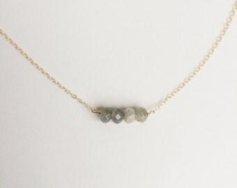Natural Labradorite Necklace // Grey Stone Jewelry // Grey Necklace // Dainty Stone Necklace // Natural Stone Jewelry