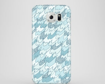 Small waves mobile phone case / Samsung Galaxy S7, Samsung Galaxy S6, Samsung Galaxy S6 Edge, Samsung Galaxy S5 / pastel blue phone case