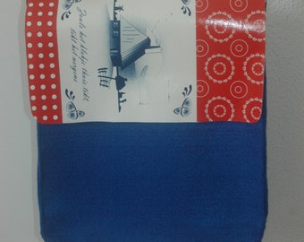 Red blue felted 'Dutch' bag