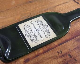Melted Bottle - Good Food - Good Friends - Good Wine Label