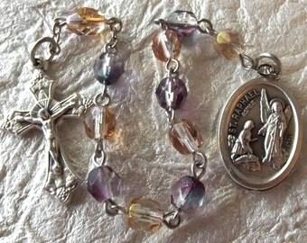 Saint Raphael Amber and Lavender Rosary