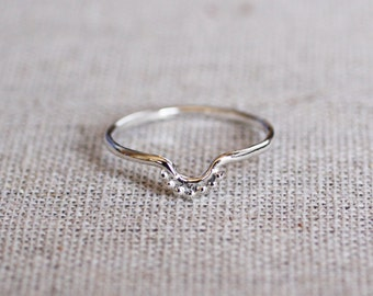 Tiny Bubble Curved Ring, Sterling Silver, 14k Rose Gold, 14k Yellow Gold, 14k White Gold, Ring Set, Skinny Ring, Stackable Ring