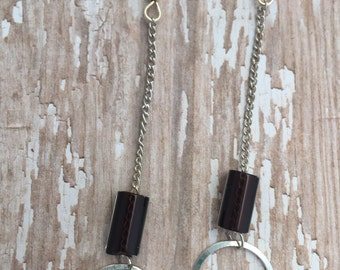 Chocolate Brown Cane Glass Drop Earrings