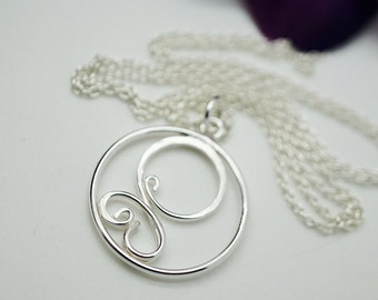 Sterling silver swirl necklace - charm necklace - Sterling silver pendant - Silver charm necklace - Matching necklace