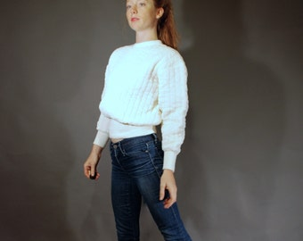 Vintage small thermal sweatshirt off white 70s 80s retro fashion women's mens winter clothing Black Sheep