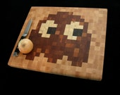 Wood Pixel Art - Cutting Board - Pacman Ghost