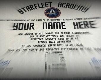 Star Trek Starfleet Academy Personalised Certificate for your Very Own Trekkie