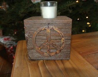 Peace Sign - Reclaimed Wood Votive Candleholder