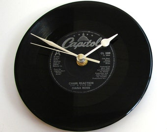 "DIANA ROSS Vinyl Record CLOCK ""Chain Reaction"" Fun gift, for men, women, unisex, gay interest, fun ,disco, hits, 1970s, 1980s, black, silver"