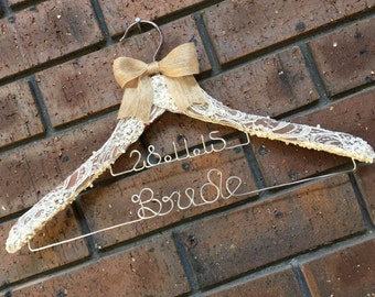 Divine 2 tier French lace wedding hanger with date - the perfect touch to any vintage wedding theme.