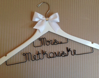 Double decker MRS wedding hangers for extra long surnames - perfect for any bride so no one misses out.