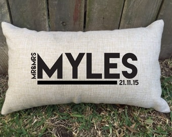 """Celebration newly wed pillow, perfect for 2nd wedding anniversary """"cotton"""", bridal shower, morning of the wedding gift & house warming gift"""