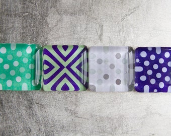 Super Strong 1.5-inch Square Glass Magnets Set of 4 (Buy three magnets get one free) with Colorful Patterns - Purple Green