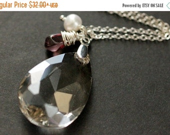 VALENTINE SALE Crystal Necklace. Crystal Teardrop Necklace with Wire Wrapped Teardrop and Pearl. Crystal Teardrop Pendant. Crystal Pendant.