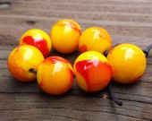Fiery Red and Yellow Lampwork Beads (7 beads)
