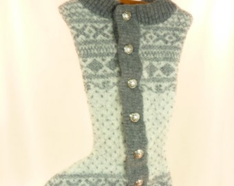 Christmas Stocking Icelandic Wool Felted Felt OOAK Grey Metal Buttons Fair Isle Grey Off White Recycled Repurposed 656