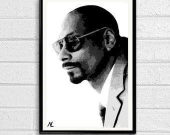 Snoop Dogg Rapper Illustration, Hip hop Pop Art, Musician Home Decor, Poster, Print Canvas