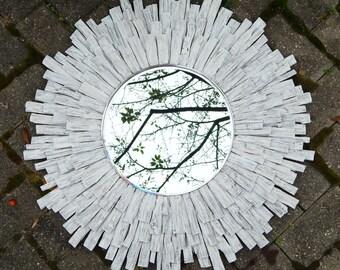 "27"" WhiteWashed Wood Sunburst Mirror, reclaimed wood wall art, wood wall art, costal MADE to ORDER"